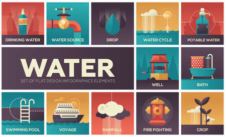 Water concept - set of flat design infographics elements