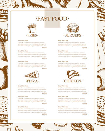 Fast food - color hand drawn vintage template menu