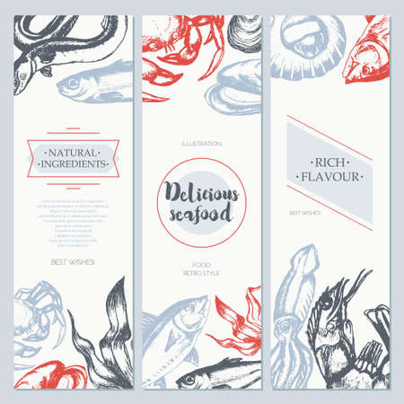Delicious Seafood - color drawn template banner template. Illustration