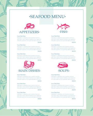 美味しい魚介類 - 描画テンプレート メニュー  イラスト・ベクター素材
