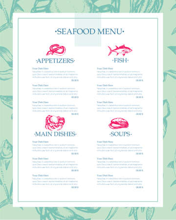 Delicious Seafood - drawn template menu