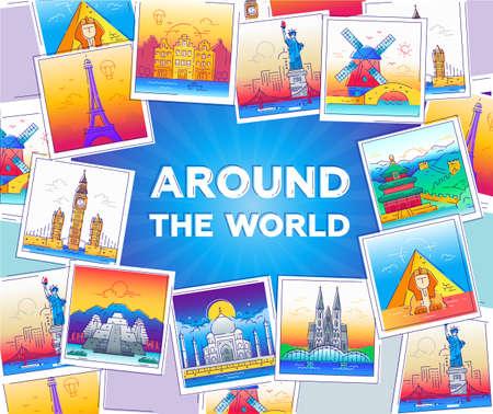 Rond de wereld - lijnreisillustratie Stock Illustratie