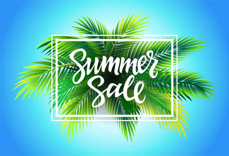 sell: Summer Sale - vector leaflet template with brush pen lettering