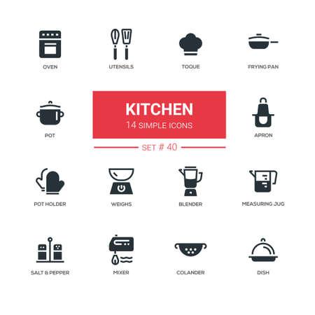 Kitchen utensils - line design icons set Ilustração