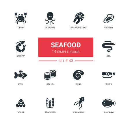 Meeresfrüchtekonzept - Linie Designikonen eingestellt Standard-Bild - 89833652