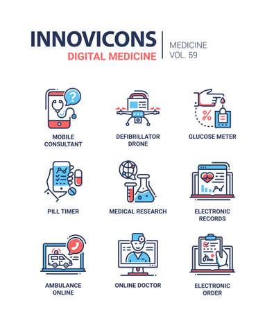Digitale geneeskunde - lijn ontwerp pictogrammen instellen