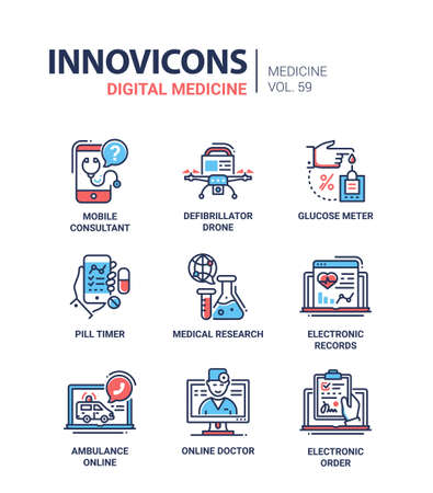 Digital medicine - line design icons set