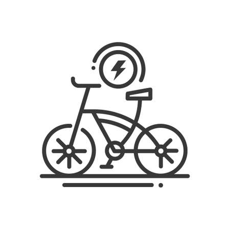 Electric bike - line design single isolated icon 向量圖像