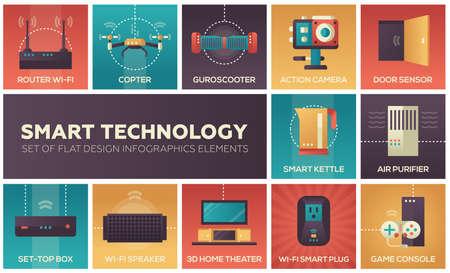 フラットなデザインのインフォ グラフィック要素の設定 - スマート ・ テクノロジー