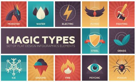 Magische types - set van platte ontwerp infographics elementen Stockfoto - 89833679