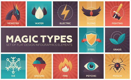 Magic types - set of flat design infographics elements