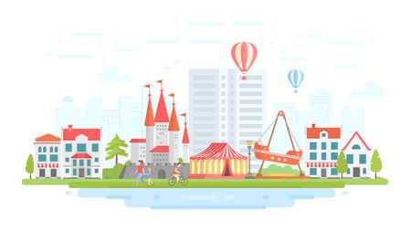 Amusement park - modern flat design style vector illustration