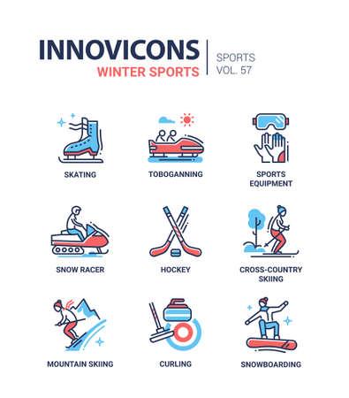 Winter sports - line design icons set Ilustrace