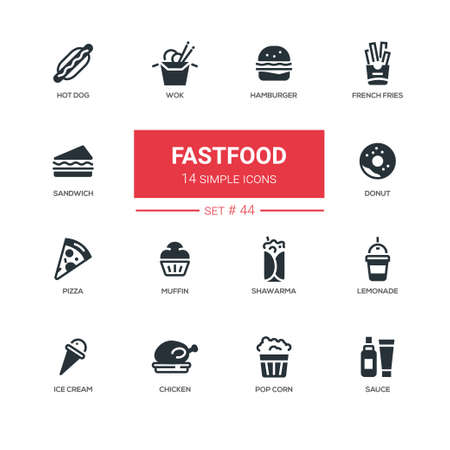 Fastfood concept - line design icons set. American diet, snacks - hamburger, french fries, hot dog, wok, sandwich, donut, pizza, muffin, shawarma, lemonade, ice cream, chicken, pop corn, sauce