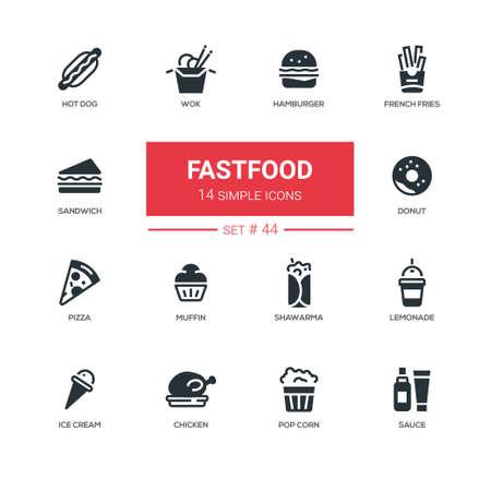 Fastfood concept - line design icons set. American diet, snacks - hamburger, french fries, hot dog, wok, sandwich, donut, pizza, muffin, shawarma, lemonade, ice cream, chicken, pop corn, sauce