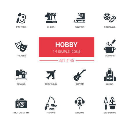 Hobby - Linie Designikonen eingestellt. Beliebte Aktivitäten, die wir zum Spaß machen. Skaten, Fußball, Malen, Schach, Theater, Kochen, Nähen, Reisen, Gitarre, Wandern, Fotografieren, Angeln, Singen, Gartenarbeit Standard-Bild - 90138017