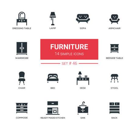 Meubels - lijn ontwerpset pictogrammen. Items voor interieur, winkel. Sofa, fauteuil, kaptafel, lamp, kledingkast, nachtkastje, stoel, bed, bureau, kruk, commode, kant en klare keuken, gootsteen, rek