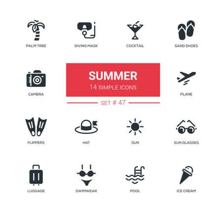 夏のコンセプト - ラインのデザイン アイコンを設定します。暑い季節に接続されていること。カクテル、砂の靴、ヤシの木、ダイビング マスク、カ