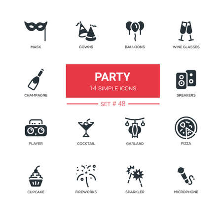 Leisure concept, party - line design icons set. Birthday, christmas items. Balloons, wine glasses, mask, gowns, champagne, speakers, player, cocktail, garland, pizza, cupcake, fireworks, sparkler, microphone