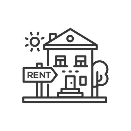 House for rent - line design single isolated icon