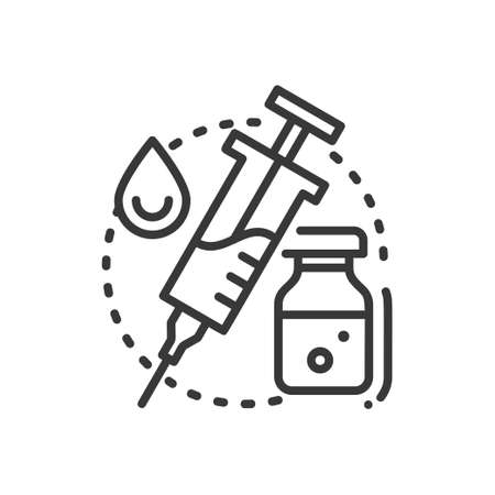 Vaccination - line design single isolated icon Illustration
