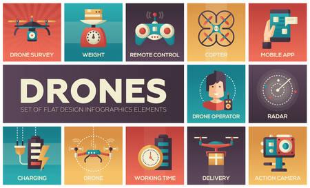 Drones - set of flat design infographics elements