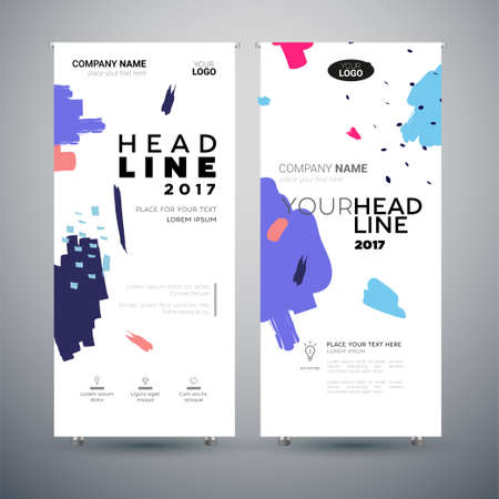 Corporate Banner - set of modern template abstract illustrations