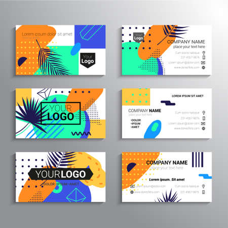 Set of business cards - vector template abstract tropical background Illustration