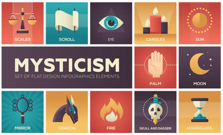 Mysticism - set of flat design infographics elements