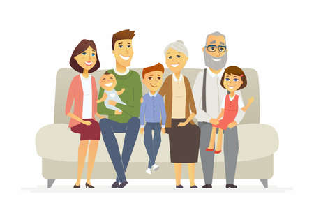 Happy family - cartoon people characters isolated illustration