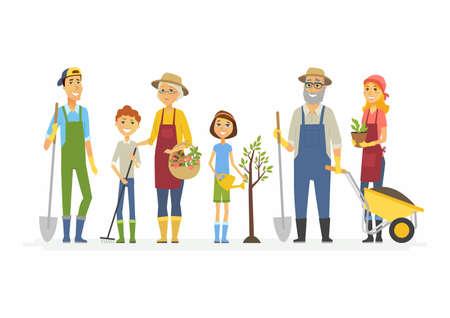 Voluntary saturday work - cartoon people characters isolated illustration Stock Photo