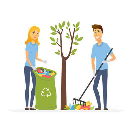 Volunteers collect garbage - cartoon people characters isolated illustration