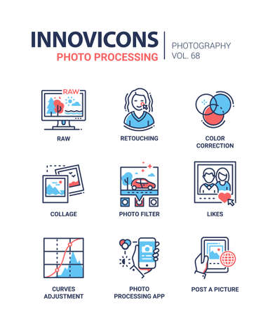 Set of picture processing concept line design icons