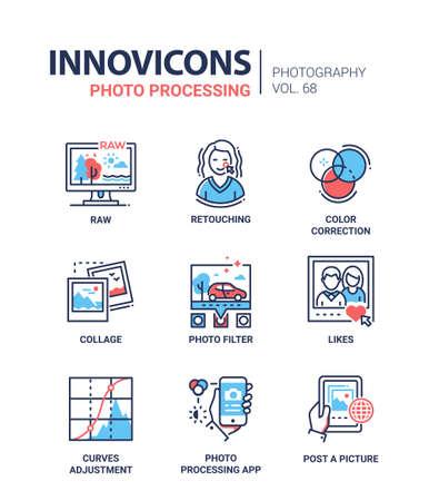 Set van foto verwerking concept lijn ontwerp iconen Stockfoto - 90607691