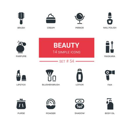 Satz der Modeschönheitskonzept-Designillustration Standard-Bild - 90607957