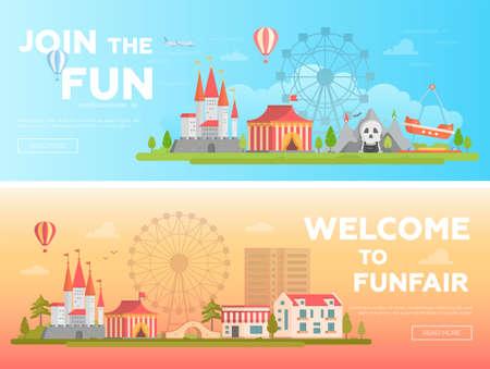 Amusement park - set of modern flat vector illustrations Stock Photo