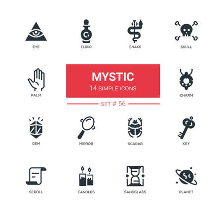 Culture theme, mystic - line design icons set