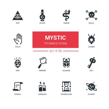 Cultuurthema, mystiek - geplaatste pictogrammen van het lijnontwerp