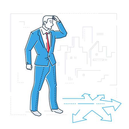 Businessman hesitating in line design style illustration.