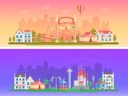 Day and night amusement park in flat style illustrations. Illustration