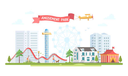 City with amusement park in modern flat design style illustration