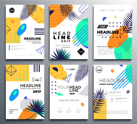 Set of presentation booklet covers on bright tropical background.