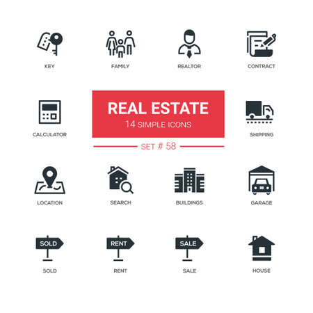Business concept, real estate - line design icons set
