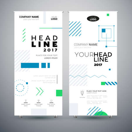 Corporate Banner - set of modern vector template abstract illustrations Illustration