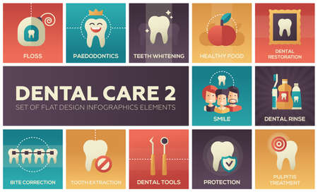 Dental care - set of flat design infographics elements
