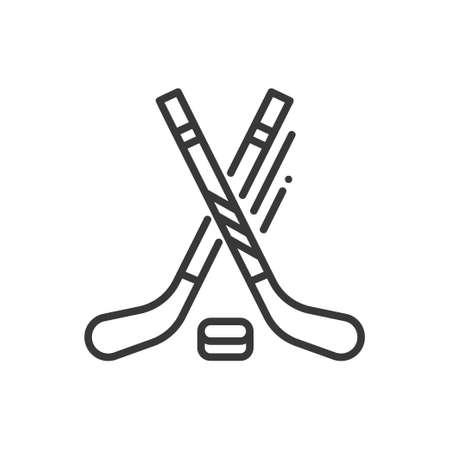아이스 하키 - 라인 디자인 하나의 고립 된 아이콘