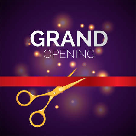 Grand opening template - modern vector illustration on festive background Ilustrace