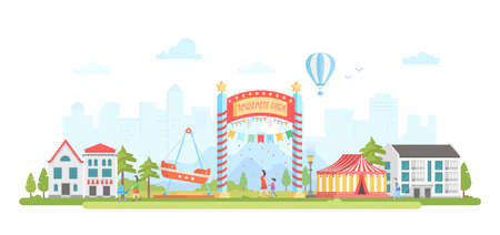 Amusement park - modern flat design style vector illustration Stock Vector - 90693088