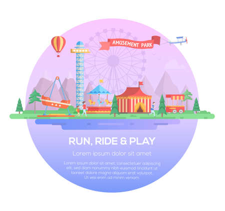 Run, ride and play - modern vector illustration