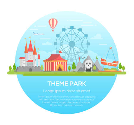 Theme park - modern vector illustration  イラスト・ベクター素材